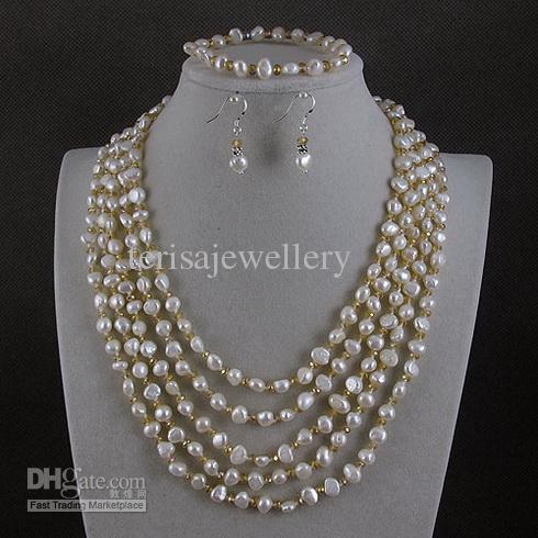 collar de perlas 5rows 5-6mm crystalwhite genuino collar de perlas de agua dulce BCE envío gratis A2181