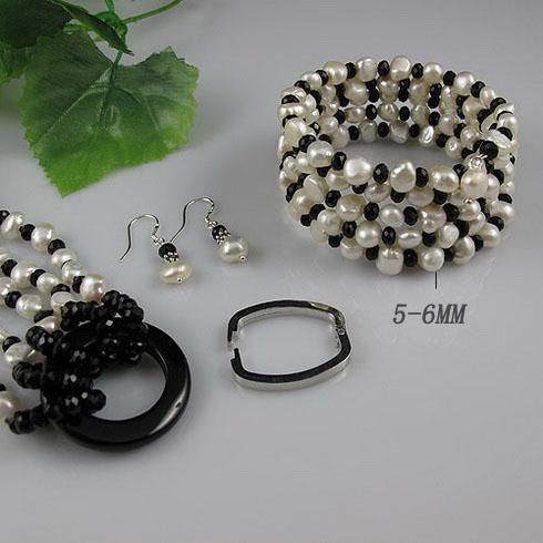 Collar de perlas 5 hileras 5-6mm crystalwhite Collar de perlas de agua dulce genuino BCE envío gratis A2182