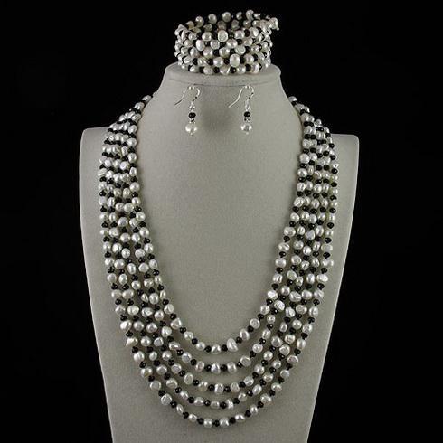 Pearl Necklace 5OWS 5-6MM CRYSTALWHITE Äkta sötvattenspärlhalsband BCE Gratis frakt A2182
