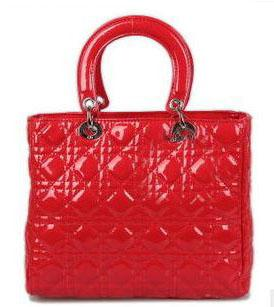 Red Evening Bags Lady Bag Quilting Patent Leather Bag Ladies Tote ...