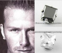 Wholesale Cubic Zirconia Screw Backs - men's magnetic earrings hiphop non piercing earring for men 8mm 4 claw black white Cubic zirconia earring studs