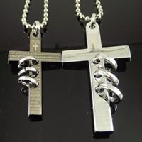 ingrosso collana di gioielli-20pcs collana all'ingrosso collana in acciaio inox croce pendente croce collana per ebreo amanti amanti '