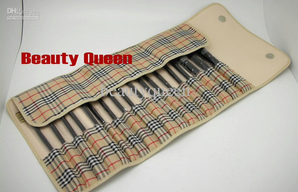 뜨거운 판매 18 개 프로 화장품 메이크업 브러쉬 세트 염소 머리 가죽 파우치 체크 무늬 패턴 가방 새로운