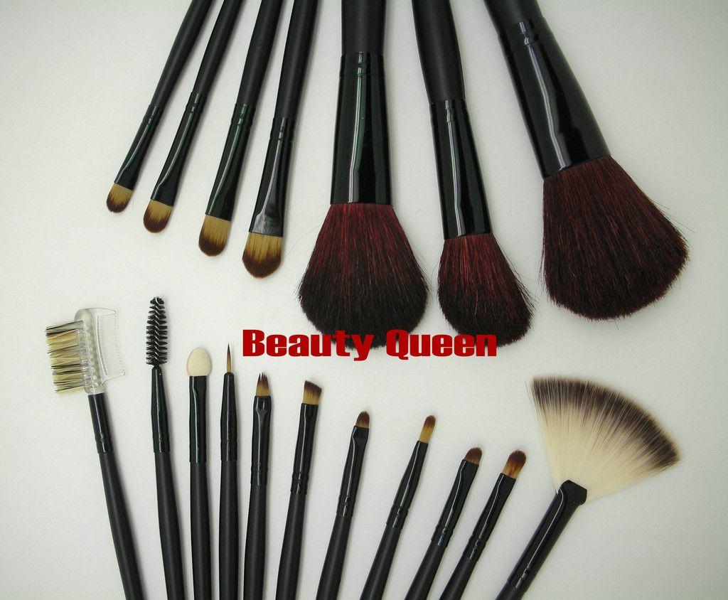 VENTE CHAUDE Pro Pinceaux de Maquillage Cosmétiques Set Chèvre CHEVEUX Poche En Cuir Checkboard Pattern Sac NOUVEAU