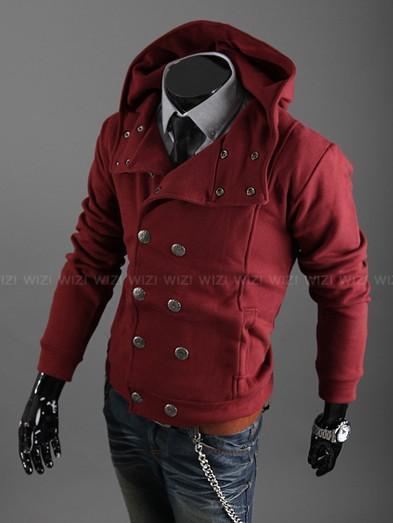 Monde Men's Double Breasted Jacket Red Hoodie Men's Jacket Coat ...
