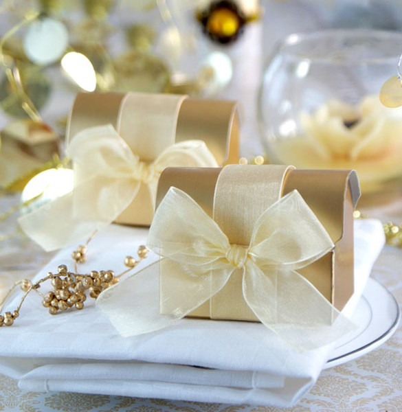 FREE SHIPPING 100PCS Golden Treasure Chest Box Favors with Organza Ribbon Bow Candy Boxes Favors Holder Wedding Favours Event Gift Package