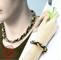 Wholesale Three Ropes Tornado Sports Necklace - NEWEST 3 Three ropes braid Titanium sports tornado Necklace