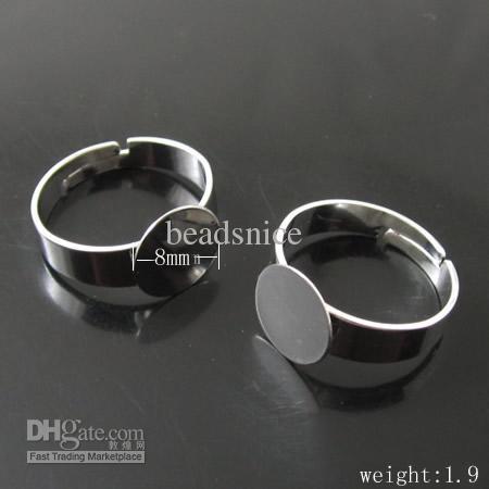 Bases del anillo, latón, Perfecto para Cabochons, diámetro de la base 8 mm, 17 mm de diámetro interior, ID: 4426