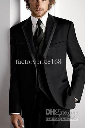 Calidad superior Negro Nuevo Dos botones Pico solapa Novio Tuxedos / traje de los hombres de la boda Trajes de novio chaqueta + pantalones + corbata + chaleco 31