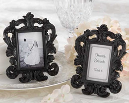 "Free Shipping,100pcs lot,""Black Baroque"" Elegant Place Card Holder Photo Frame wedding party favors place photo frame"