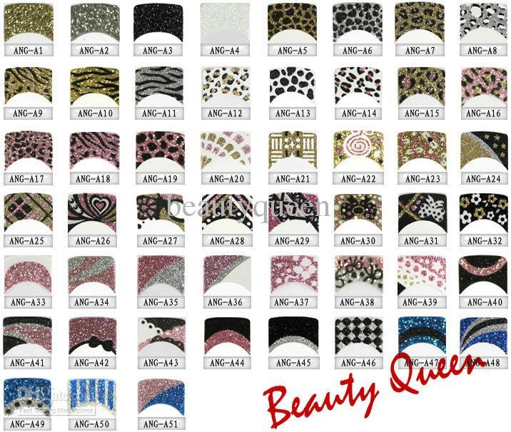 Decorazioni Tie vendita calda * Mix Nail Corea del Fashion Design 3D di arte del chiodo francese delle decalcomanie di scintillio della decalcomania del fiore del merletto Punte Leopard NEWEST