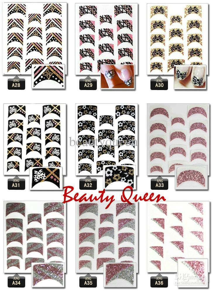 Gorąca sprzedaż * Mieszana Korea Moda Design 3D Nail Art Francuscy Naklejki Naklejki Glitter Naklejka Nail Porady Leopard Kwiat Koronki Krawat Dekoracja Najnowszy
