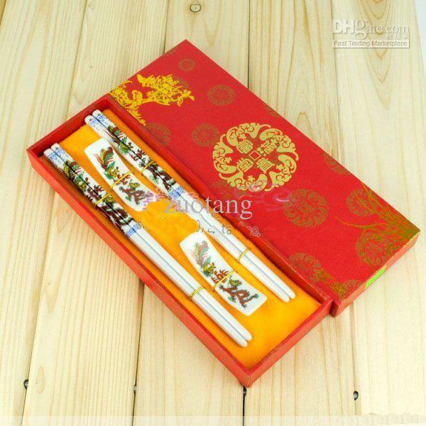 Ceramika Craft Chopsticks Chinese Style Printing Pickstick z pudełkiem pakującym 2 pakiet / partia za darmo
