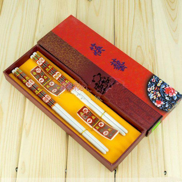 ラッキーセラミッククラフト箸の中国の印刷ギフト箸箱の箱/ロット無料