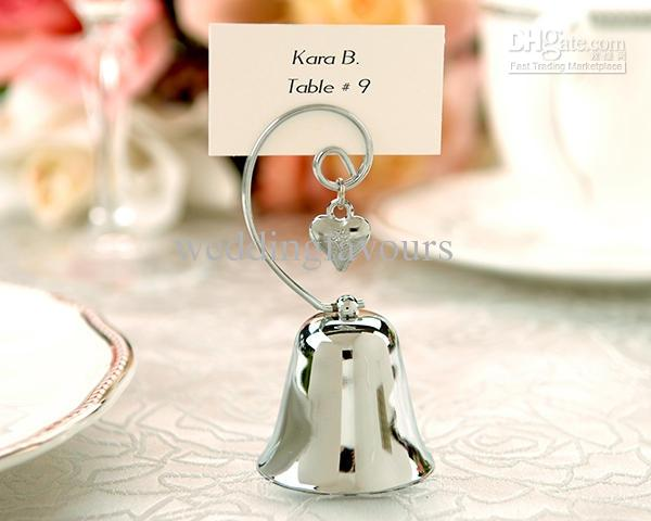 Charming Bell with Dangling Heart Charm Place Card Holder Wedding Reception Gifts Party Event Table Setting Favors