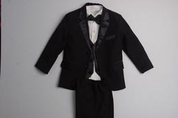 Wholesale Black Stripe Suit - Hot Sale 5 Pcs for 1 set NEW BLACK TUXEDO BOY'S FORMAL SUIT size 2 4 6 8 10 12