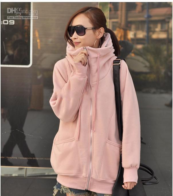 Korean Women Long Fleece Solid Long Sleeved Hooded Sweater Coat ...