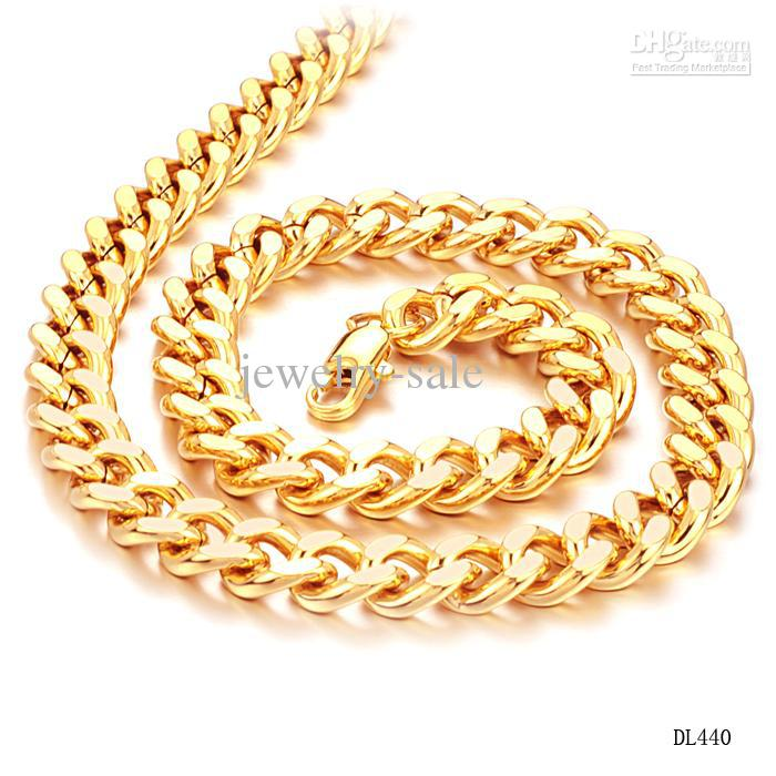 CLASSIC MEN JEWELRY 18K YELLOW GOLD PLATED CHAIN NECKLACE COOL MAN ...
