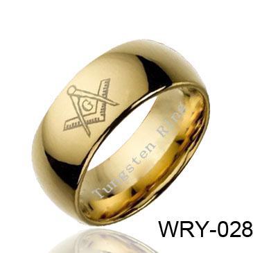 Anneau de tungstène dôme maçonnique en anneau de tungstène plaqué or 18K Ventes WRY-028