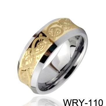 Anillo de tungsteno plateado oro 18k Impresionante anillo de tungsteno céltico cóncavo, anillos de oro