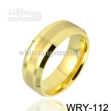 18K 금 도금 텅스텐 반지 웨딩 밴드 약혼 반지 골드 반지
