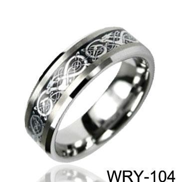 Dragon Inlaid Carbide Tungsten Rings Silver Inlaid Ring Wedding