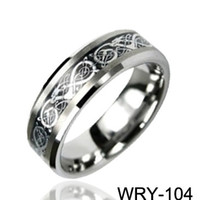 Wholesale Dragon Inlay - Dragon Inlaid Carbide Tungsten Rings Silver inlaid ring wedding bands