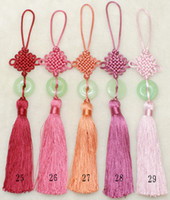 Wholesale Jade Car Ornament - Car Interior Ornament Hanging Chinese knot Tassel Jade Crafts 50pcs mix Free