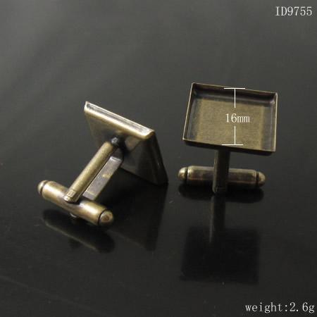 Biżuteria Mosiądz Spinki do mankietów, średnica podstawy: 16mm, grubość: 0,3 mm, bez niklu, ID9755