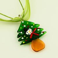 Wholesale Christmas Murano - Christmas tree Italian venetian lampwork blown murano glass pendants for necklaces handmade fashion jewelry Mup097