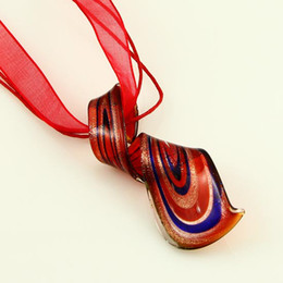 italian plates Australia - Beautiful foil twist Italian venetian lampwork blown murano glass pendants for necklaces jewelry handmade cheap fashion jewellery Mup096