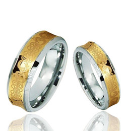 Wholesale Tungsten Celtic Couple Ring - 18 K Gold Plated Couple's Tungsten Rings High Polish Concave Celtic Style Fashion Jewelry Rings
