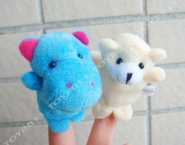 100pcs nuevos animales que vienen juguete de la marioneta del dedo, juguete temprano de Eductional, amante de los bebés 10 clases para eligen