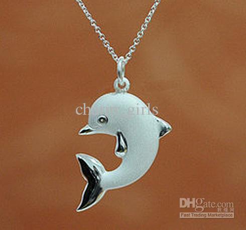 Darmowe zakupy A 50 SZTUK Frosted Delfiny Naszyjnik 925 Srebrny Naszyjnik Factory Direct Selling Cena Boże Narodzenie prezent