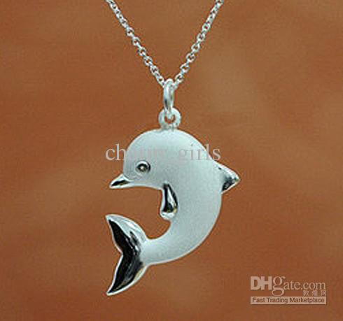 free shopping a Frosted dolphins Necklace 925 silver Necklace Factory direct selling price Christmas Gift