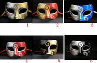 mavi yarı yüz maskesi toptan satış-Mavi Patchwork Yarım Yüz Maskesi Cadılar Bayramı Masquerade Maskeleri Venedik Dans Partisi Maske Erkekler snd Kadınlar Için