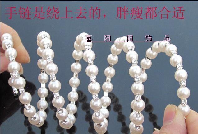 Gioielleria di moda Bracciale di perle quattro file di Bracciale con diamanti regolabili circondato
