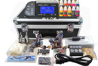 Wholesale Damascus Machine - 2 Damascus steel Tattoos Kits Machines Guns Best Power Supply 40 colors Ink Professional Tattoo Kit