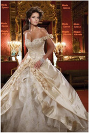 Wholesale Portrait Flower - Champagne Satin One-Shoulder Sweetheart Embroidery Flower Ball Gown Wedding Dresses Wedding Dress