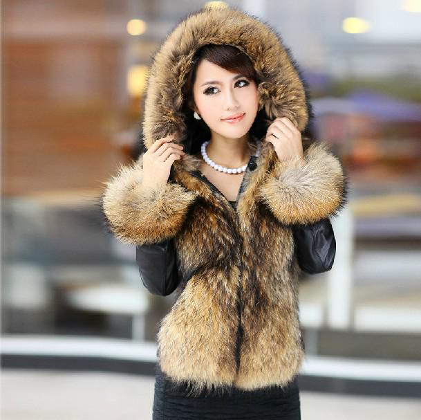 2017 Female Fur Coats Fox Fur Collar Fur Women's Fur Coats ...