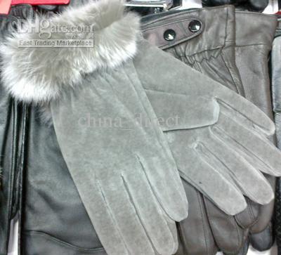 毛皮のボールレザーの手袋の毛皮の縞模様の革の皮の手袋レザーグローブレディース14ペア/ロット#1646