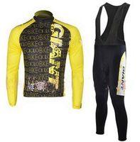 invierno ciclismo amarillo al por mayor-Winter Fleece Thermal 2010 GIANT Jersey de manga larga amarillo + pantalones babero G65