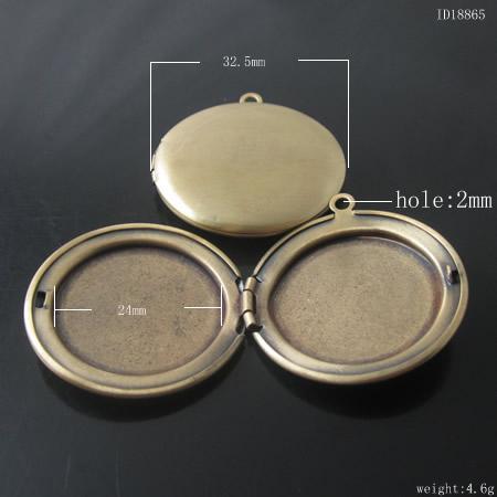 I lager objekt, mässingslocket foto hängsmycke, 32mm, anti-mässing färg, ID18865