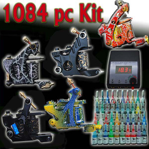 Complete Set Tattoo Kit 5 Machine Gun System Set 40 Ink Pigment Needles Tips Supply on Sale