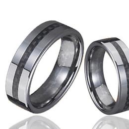 $enCountryForm.capitalKeyWord Canada - Flat Couples Tungsten Carbon Fiber Rings Black Carbon Fiber Inlay