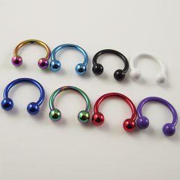Wholesale 16g Horseshoe Rings - 100pcs Eyebrow Belly ring 16G ball circulars horseshoes eyebrow rings Navel Piercing Jewelry