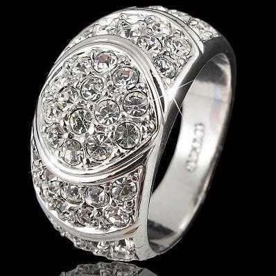 Heißer Verkauf! 18 Karat GP / Weiß GP Swarovski Kristall Ring S8 9 10