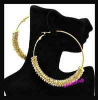 Wholesale Bling Earrings Hoops - Rondelle Crystal Beads Basketball Wives Earrings Rhinestone Inspired Bling Hoop Earrings 80mm 1pair