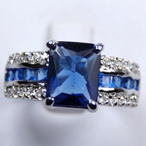 Hurtownie Tanie Oryginalne Blue Tourmaline Tanzanite Silver Ring SZ: 7 8 9