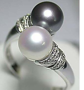 Partihandel Billiga Hot Sell! Real Black White Freshwater Pearl Silver Ring Storlek: 7 8 9